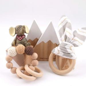 Juguetes de madera para bebés mordedores
