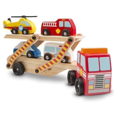 Camión de coches de madera